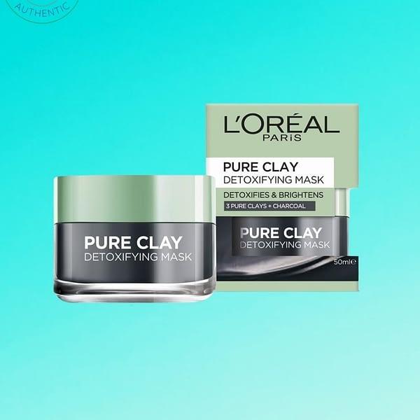 L'ORÉAL PARIS Pure Clay Mask- Detoxifying & Brightening Charcoal Mask 50 mL-1